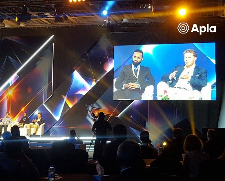 Executive Director, Muhammed Arafath, during a panel discussion at the Future Blockchain Summit, UAE.